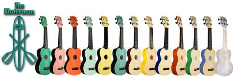 Waterman plastic ukuleles come in lots of fun colors