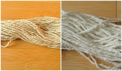 Spun and plied, before and after setting