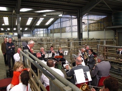 Yes, that's a brass band (a great one) in a sheep pen.