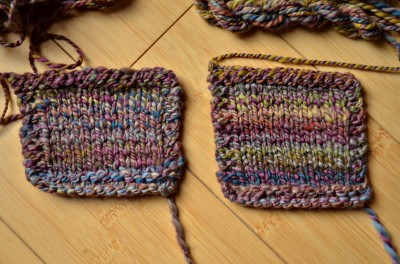 Blended/plied and just plied. Both are 2-ply, woolen spun.