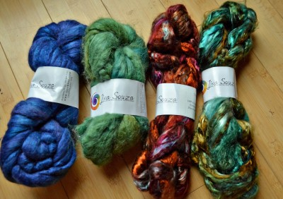 From left: cashmere/silk, alpaca/silk and tencel in two colors.