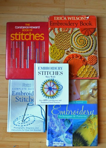 My (so far) modest stash of out of print embroidery books.