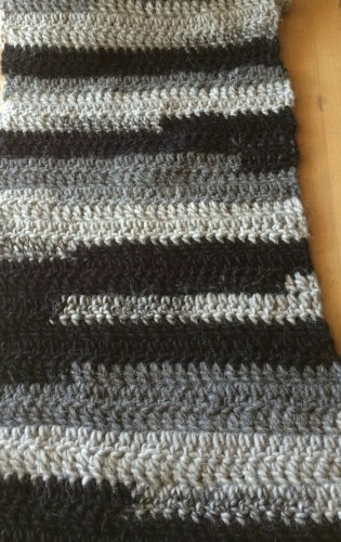 Double crochet scarf. Edges are still hard.