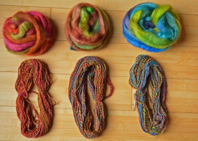 All three colors plied on themselves.