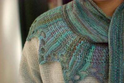 Gorgeous handspun shawl, Saranac