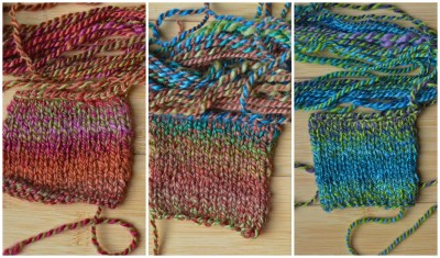 Single colorway swatches.  From left, colors 1, 2,3