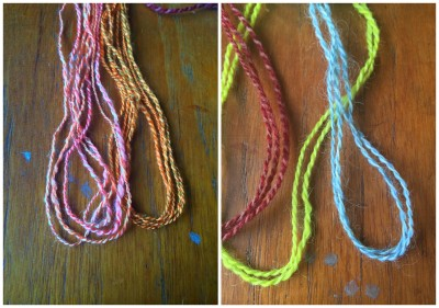 Left is Tussah and Bombyx. Right is Shetland (red), Romney (chartreuse) and Wensleydale (blue)