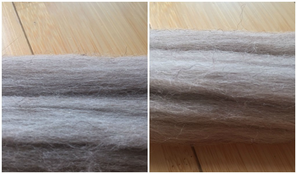 Natural BFL top, smoth direction left, roughed up right.