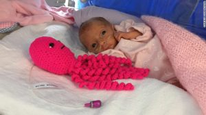 Crocheted octopi comfort and calm premature babies at Poole Hospital in the UK.