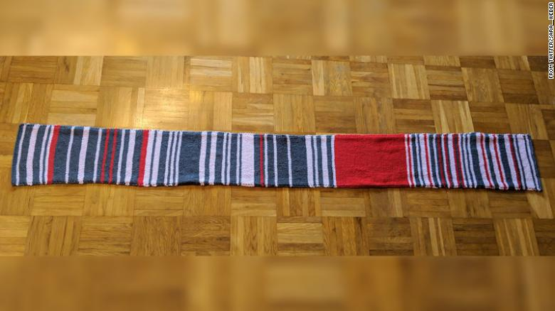 photo of knit scarf showing train delays