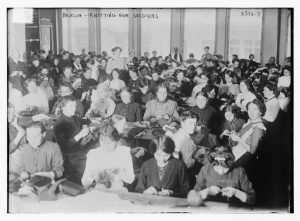 Women in Berlin knitting for soliders, 1914. Library of Congress/LC-DIG-ggbain-18341