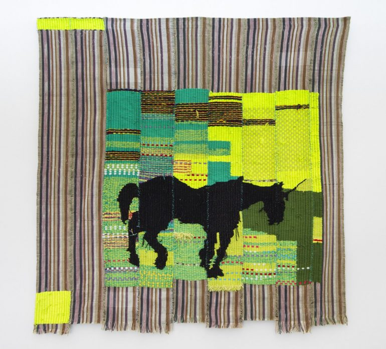 Woven item: Diedrick Brackens, unicorn kente, 2018.