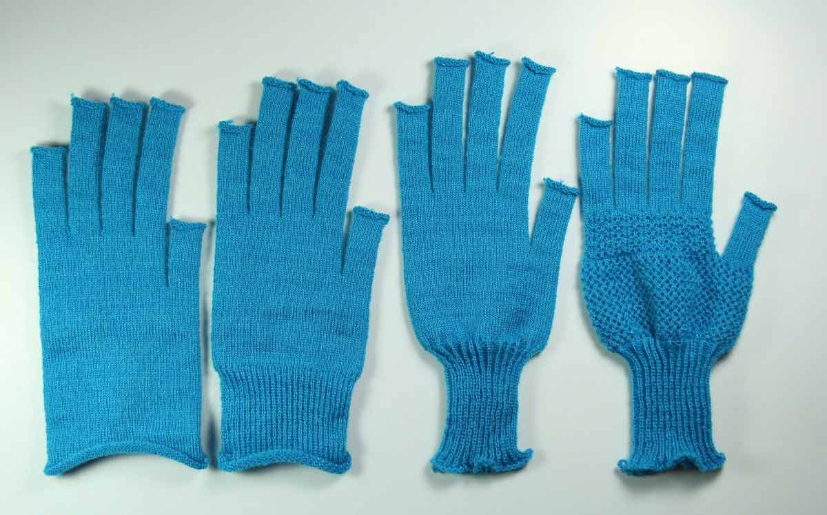 progression of gloves knitted from a MIT CSAIL program